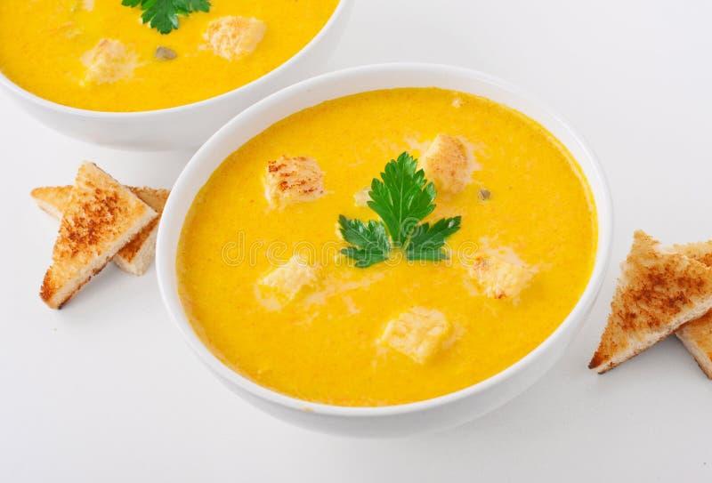 碗南瓜汤用油煎方型小面包片和荷兰芹生叶 图库摄影