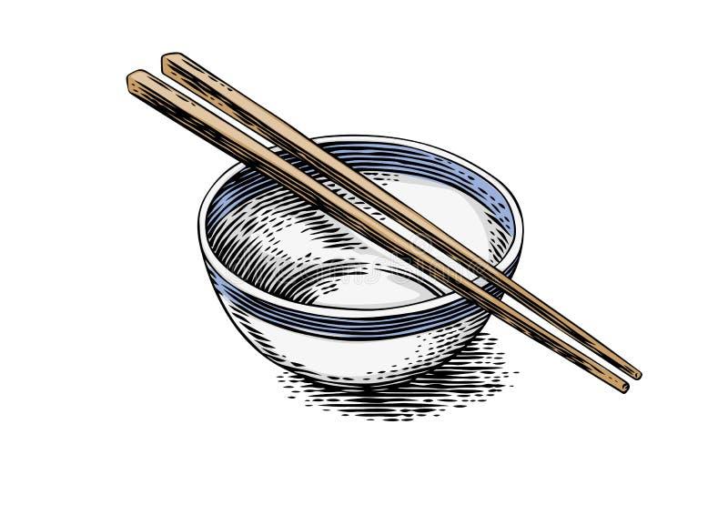 碗和两双筷子 库存图片