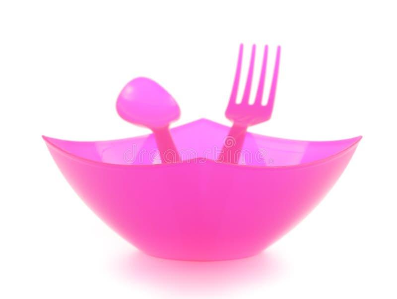 碗和塑料利器 库存图片