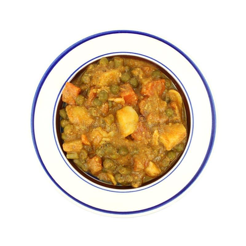 碗咖喱混杂的调味汁蔬菜 库存照片