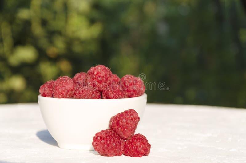 碗在白色桌上的rasberries在庭院里 自然温暖的光 库存照片