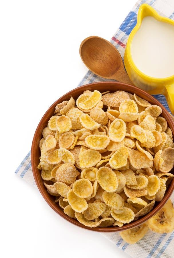 碗在白色的玉米片 库存图片