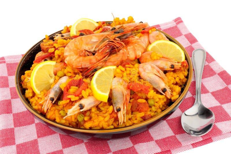 碗新鲜的大虾海鲜肉菜饭 图库摄影