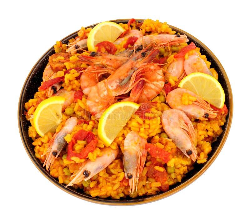 碗新鲜的大虾海鲜肉菜饭 免版税库存图片