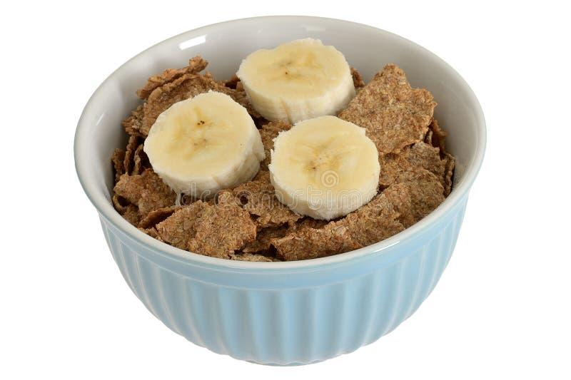 碗早餐薄糠片谷物用香蕉 库存照片