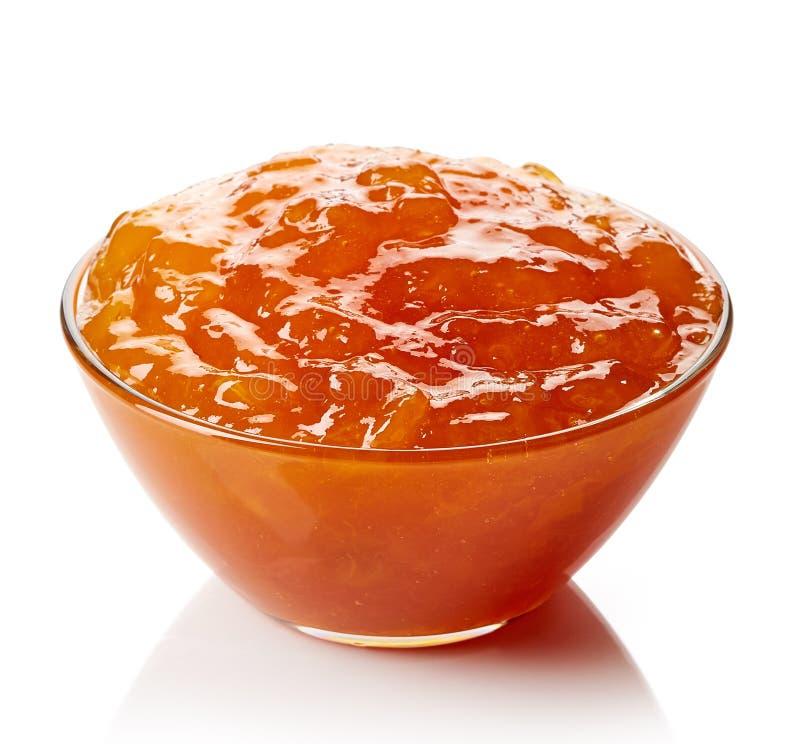 碗杏子果酱 免版税库存图片