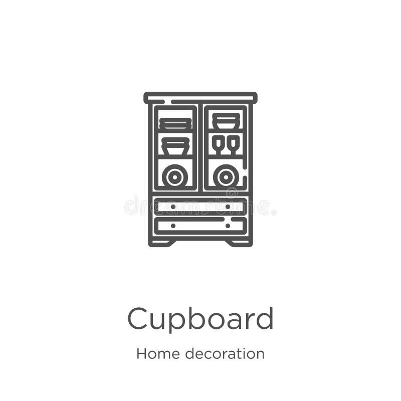 碗柜从家庭装饰收藏的象传染媒介 稀薄的线碗柜概述象传染媒介例证 r 向量例证