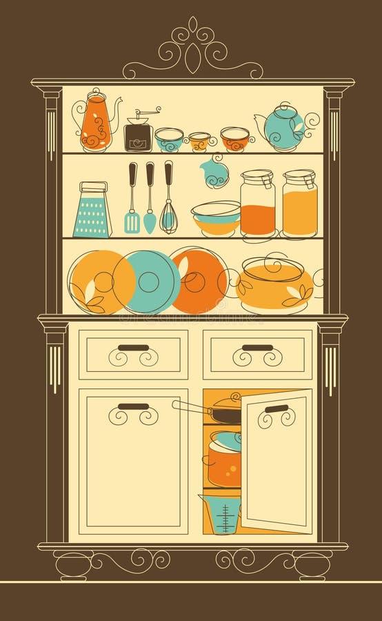 碗柜厨房 皇族释放例证