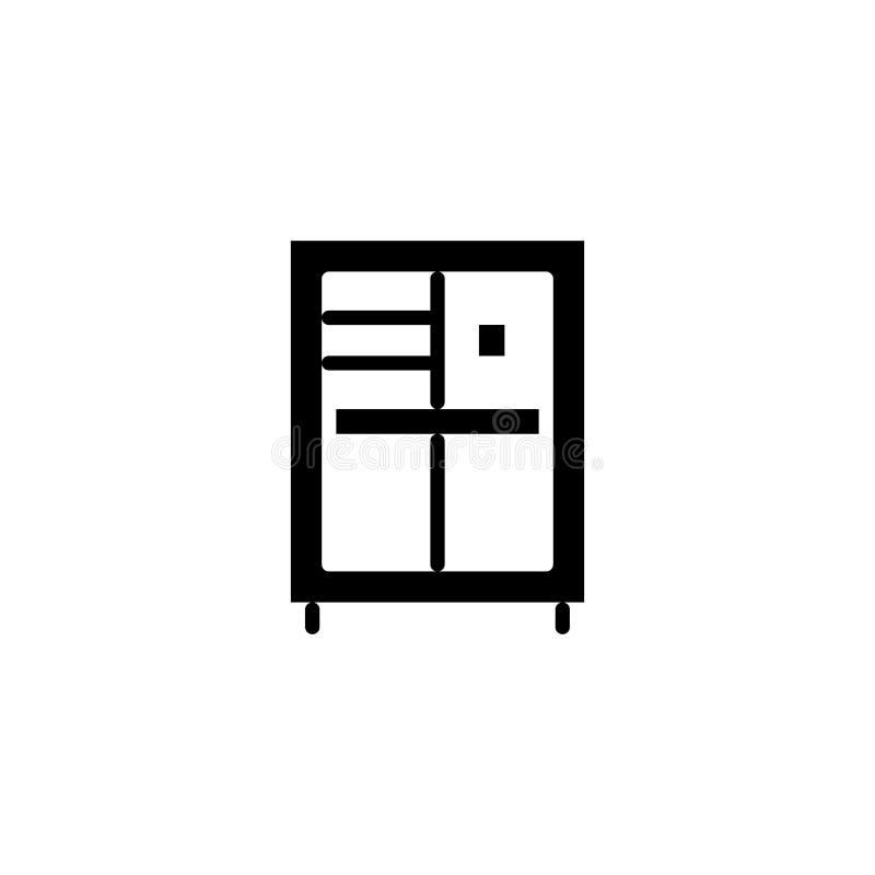 碗柜黑象概念 碗柜平的传染媒介标志,标志,例证 库存例证