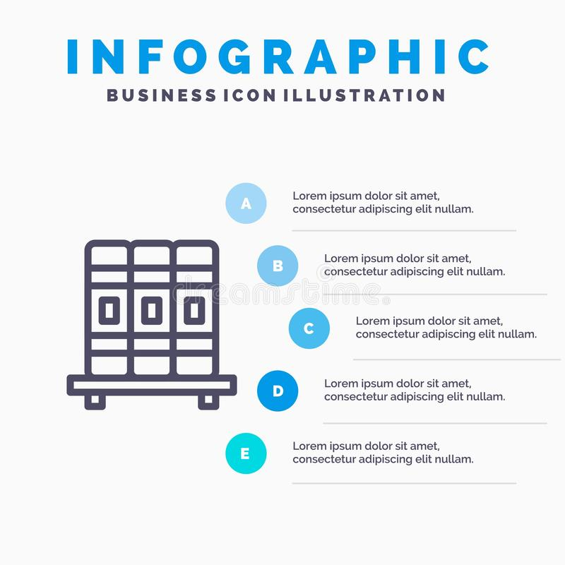 碗柜,教育,研究排行象有5步介绍infographics背景 向量例证
