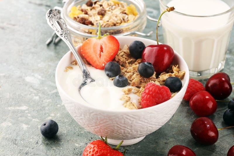 ?? 碗格兰诺拉麦片谷物、果子和牛奶早餐Muesli用谷物 免版税库存图片
