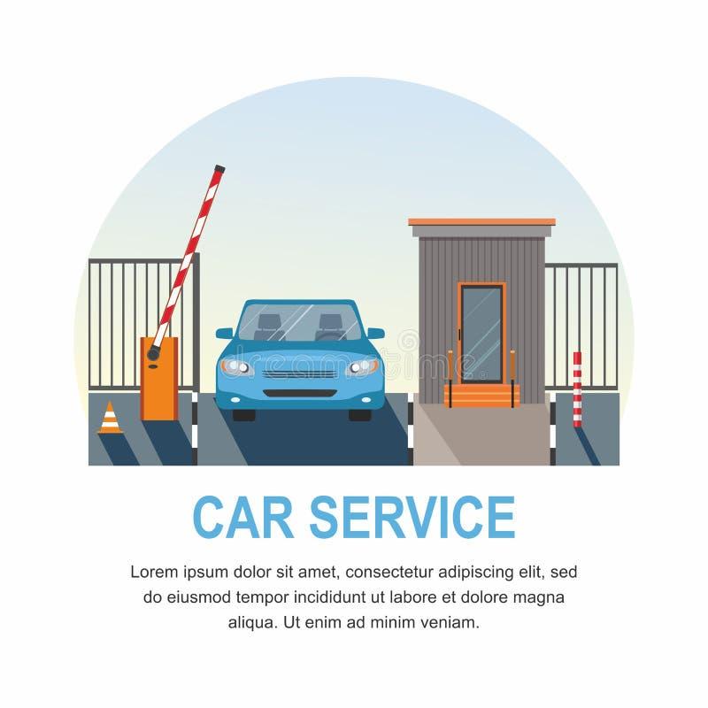 碗汽车推力增强的油替换服务 自动上升障碍,安全的自动化系统门 向量例证