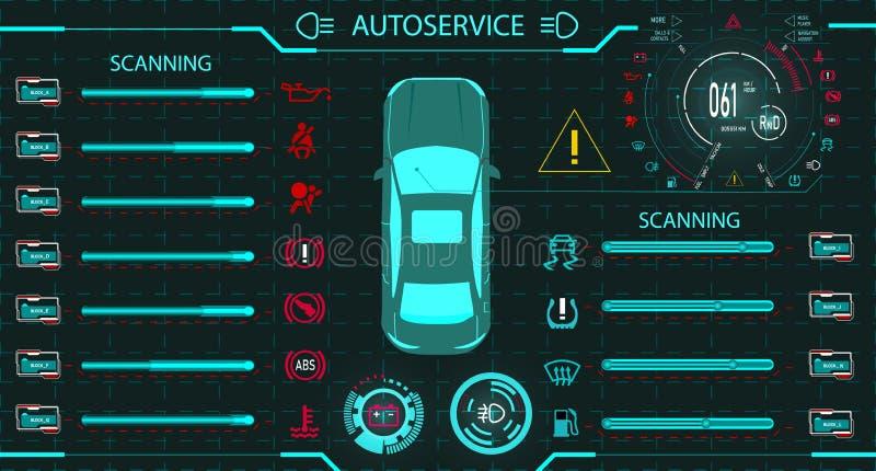 碗汽车推力增强的油替换服务 诊断立场 一辆现代汽车的数字式汽车仪表板 图形显示 例证 库存例证