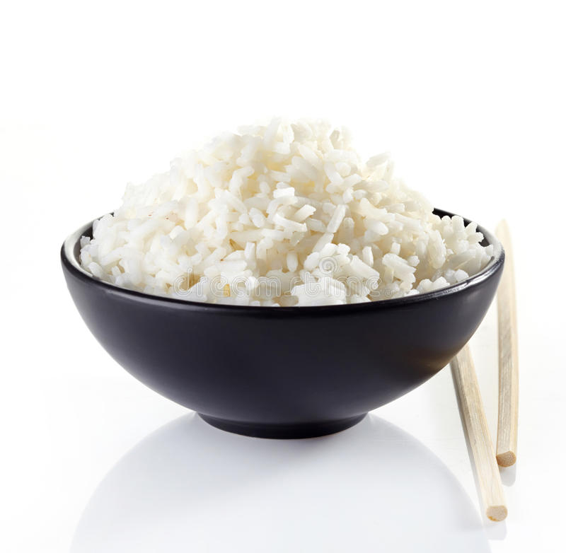 碗煮沸的米 免版税库存照片