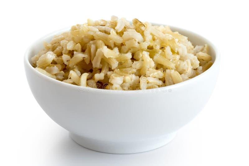 碗煮熟的长粒糙米 图库摄影