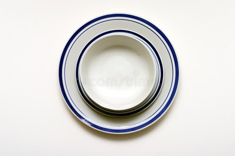 碗牌照茶碟 免版税库存照片