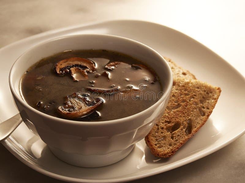 碗牛肉汤蘑菇汤用在板材的多士 免版税图库摄影