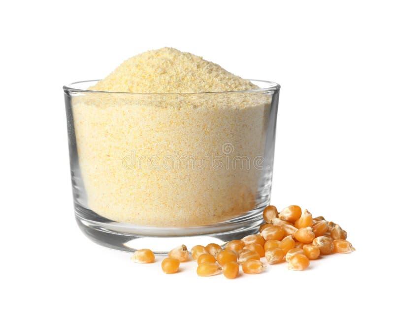 碗玉米粉和种子 库存图片