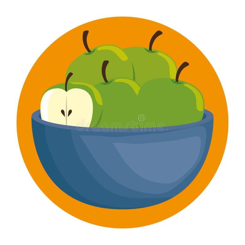 碗用新鲜的苹果 向量例证