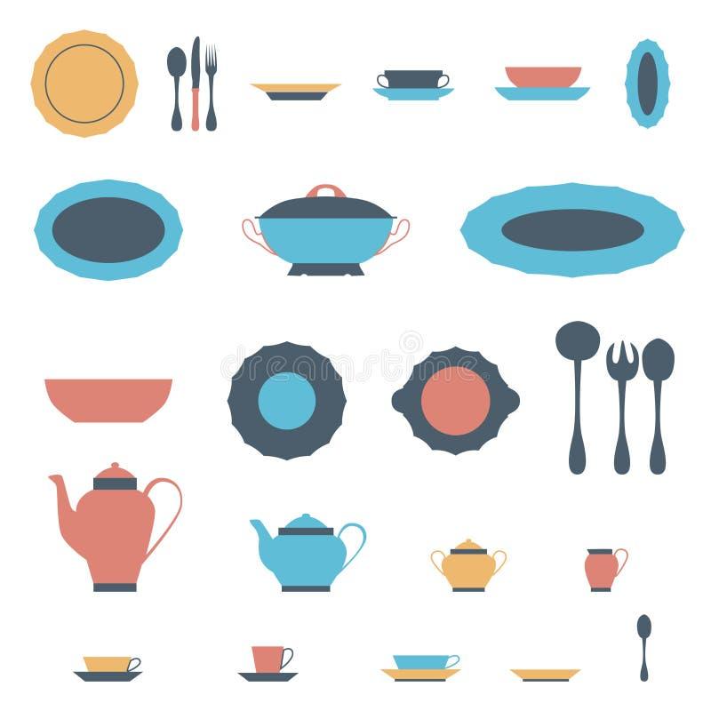 碗筷例证的套厨房器物和汇集 向量例证