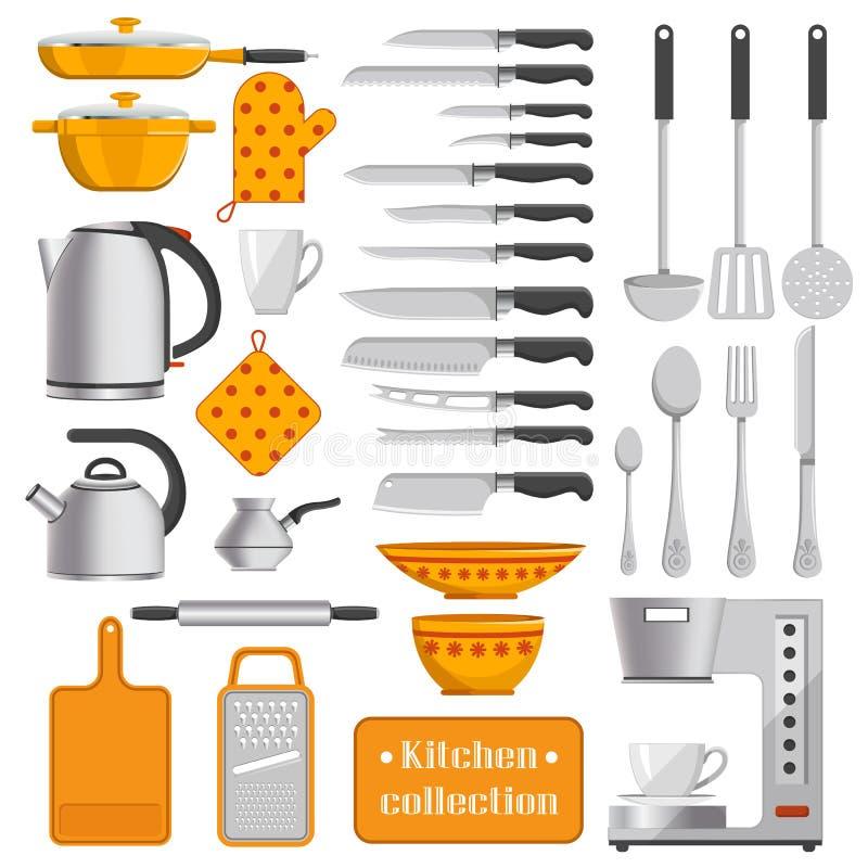 碗筷和装置的厨房汇集 皇族释放例证