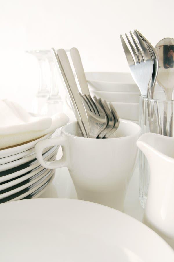碗筷白色 库存图片