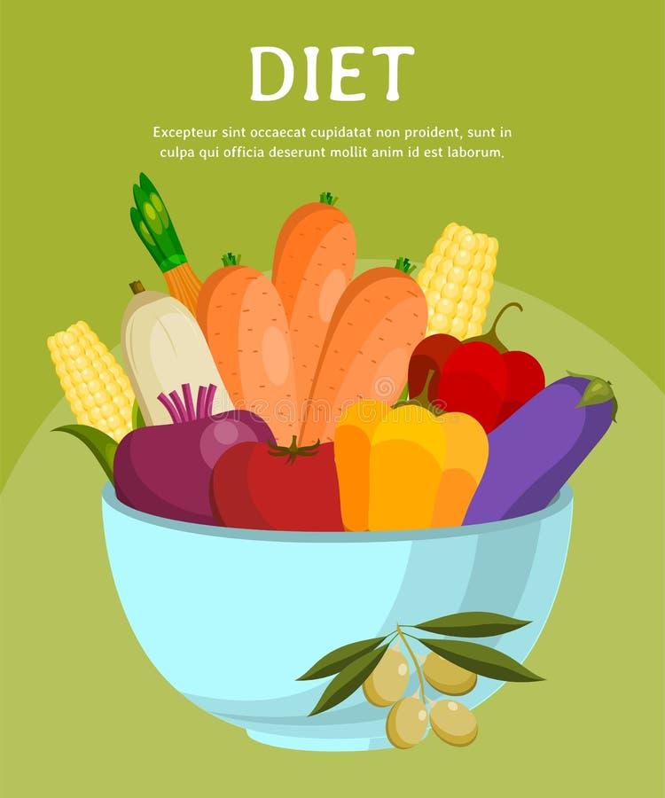 碗菜横幅,海报传染媒介例证 E 素食,自然和有机产品 ?? 皇族释放例证