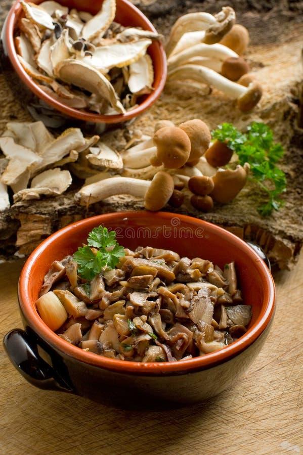碗蘑菇嫩煎 免版税库存照片