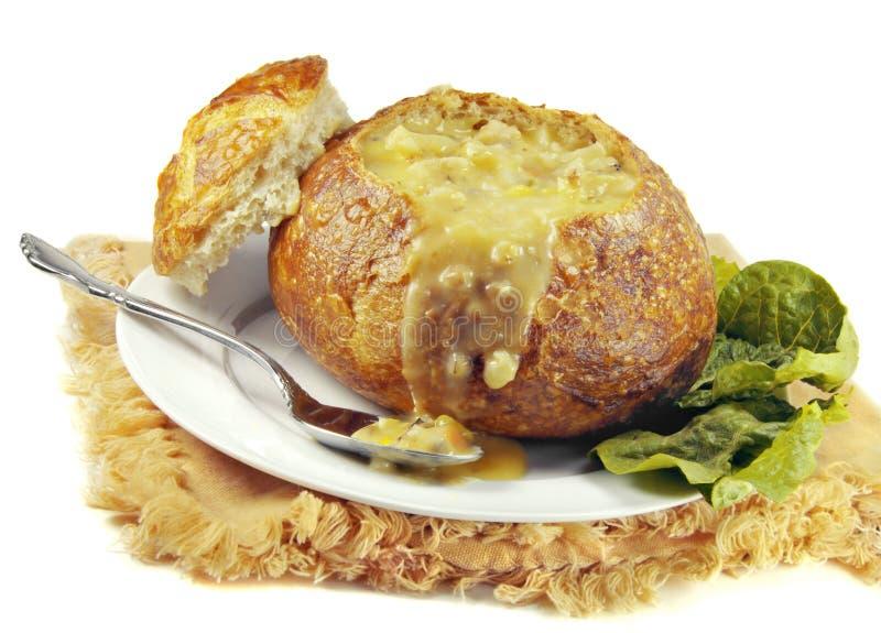 碗面包奶油汤发酵母 库存图片