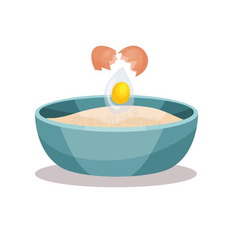 碗面粉和残破的鸡蛋,烘烤的成份导航在白色背景的例证 皇族释放例证