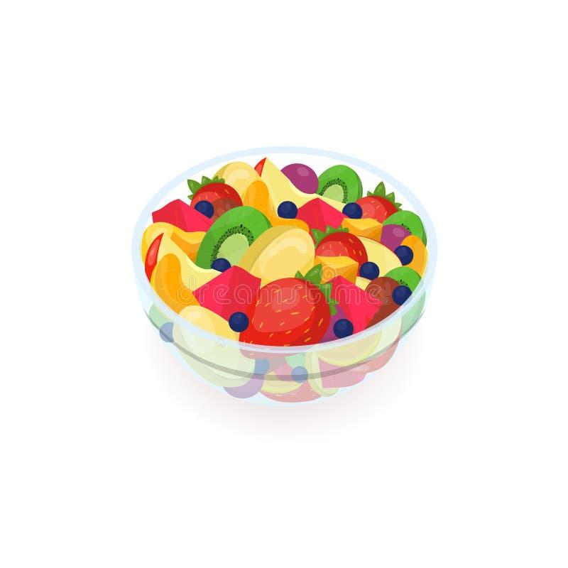 碗鲜美沙拉被隔绝的由新鲜的异乎寻常的果子制成在白色背景 可口自创盘,健康素食主义者和 向量例证