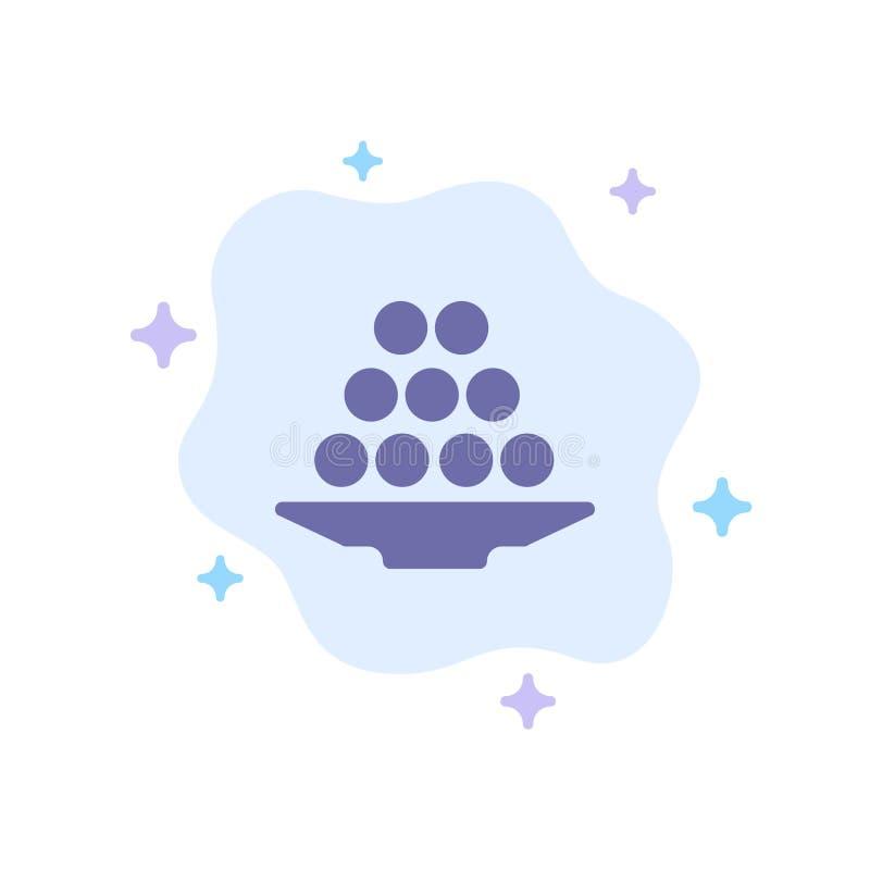 碗,纤巧,点心,印度人,Laddu,甜点,对待在抽象云彩背景的蓝色象 皇族释放例证