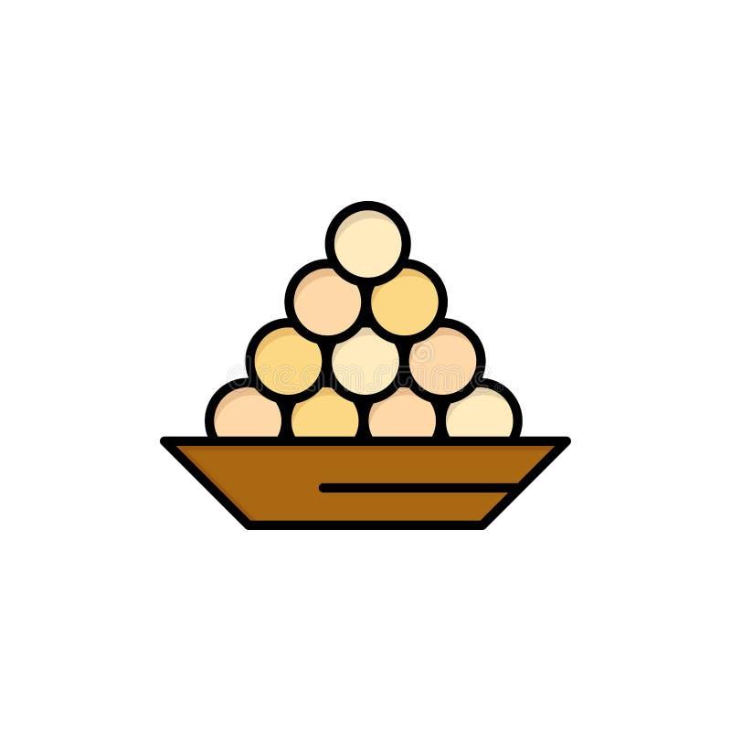 碗,纤巧,点心,印度人,Laddu,甜点,对待平的颜色象 传染媒介象横幅模板 向量例证