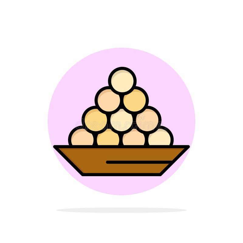 碗,纤巧,点心,印度人,Laddu,甜点,对待抽象圈子背景平的颜色象 向量例证