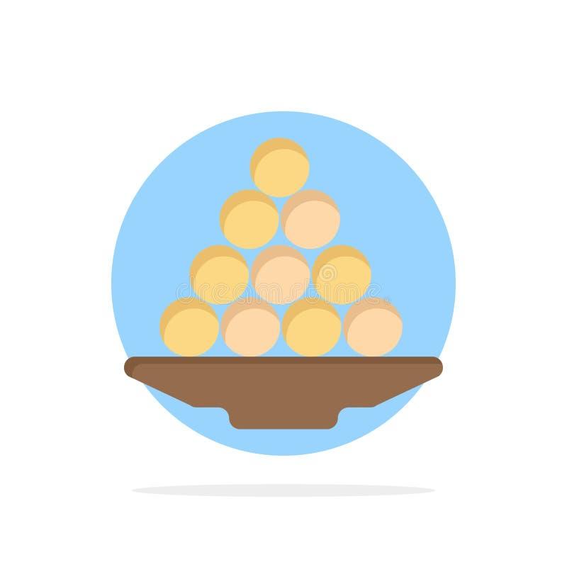 碗,纤巧,点心,印度人,Laddu,甜点,对待抽象圈子背景平的颜色象 库存例证