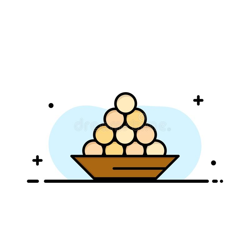碗,纤巧,点心,印度人,Laddu,甜点,款待企业商标模板 o 向量例证