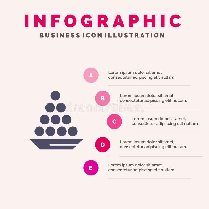 碗,纤巧,点心,印度人,Laddu,甜点,款待坚实象Infographics 5步介绍背景 皇族释放例证