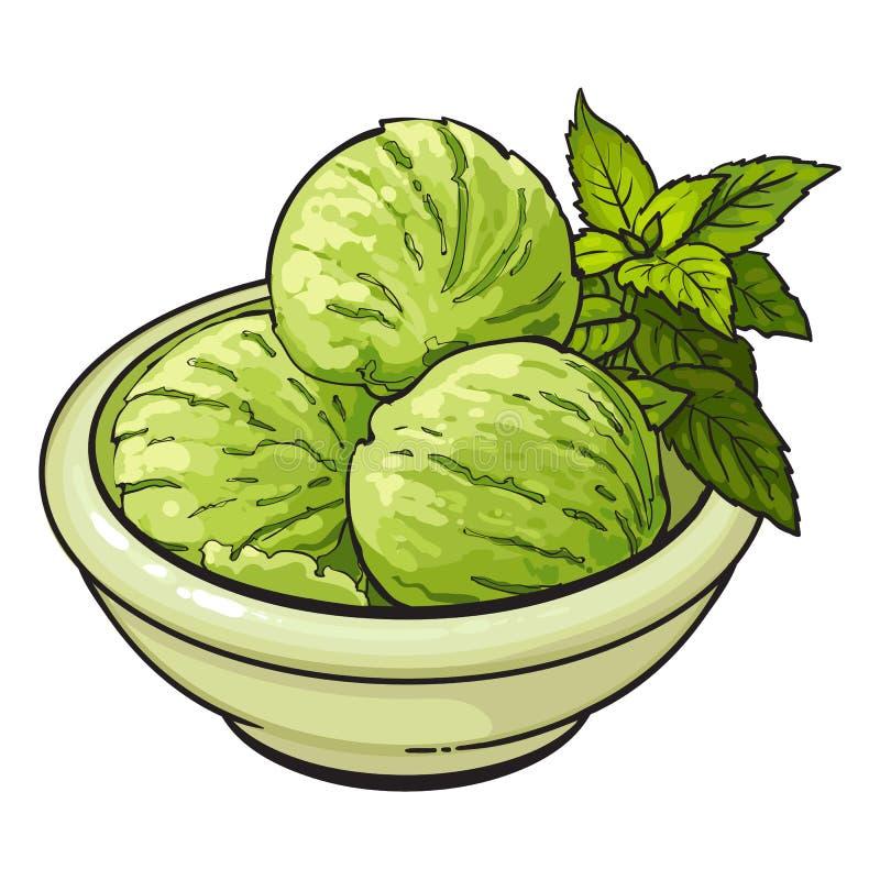 碗matcha绿茶冰淇凌瓢 皇族释放例证