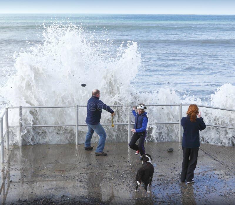 大波浪捉住的家庭 免版税图库摄影