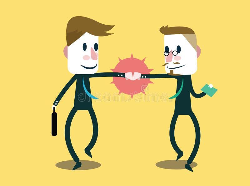 碰撞拳头的两个商人。 向量例证
