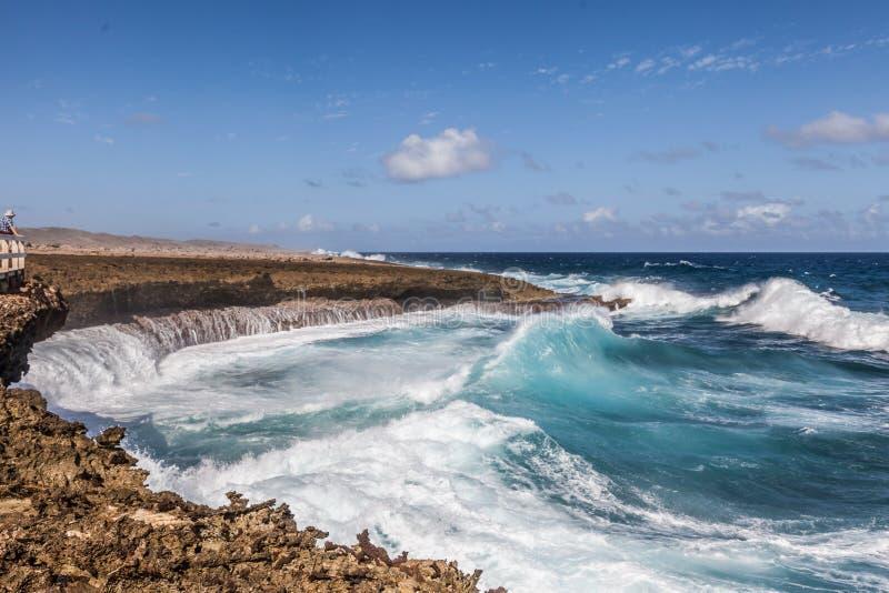碰撞挥动在全国Aprk Shete博卡队库拉索岛 库存图片