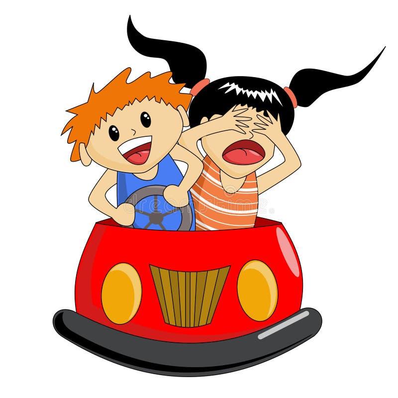 碰撞用汽车乘驾 库存例证