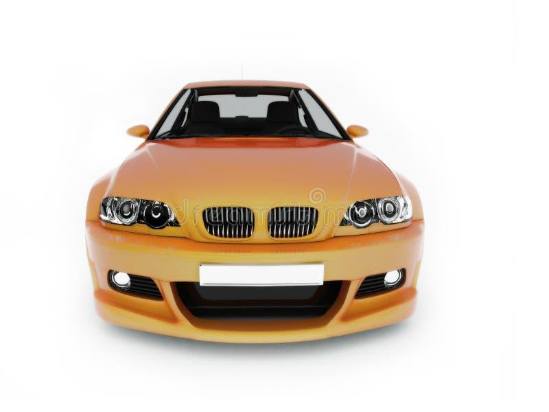 碰撞用汽车体育运动视图黄色 皇族释放例证