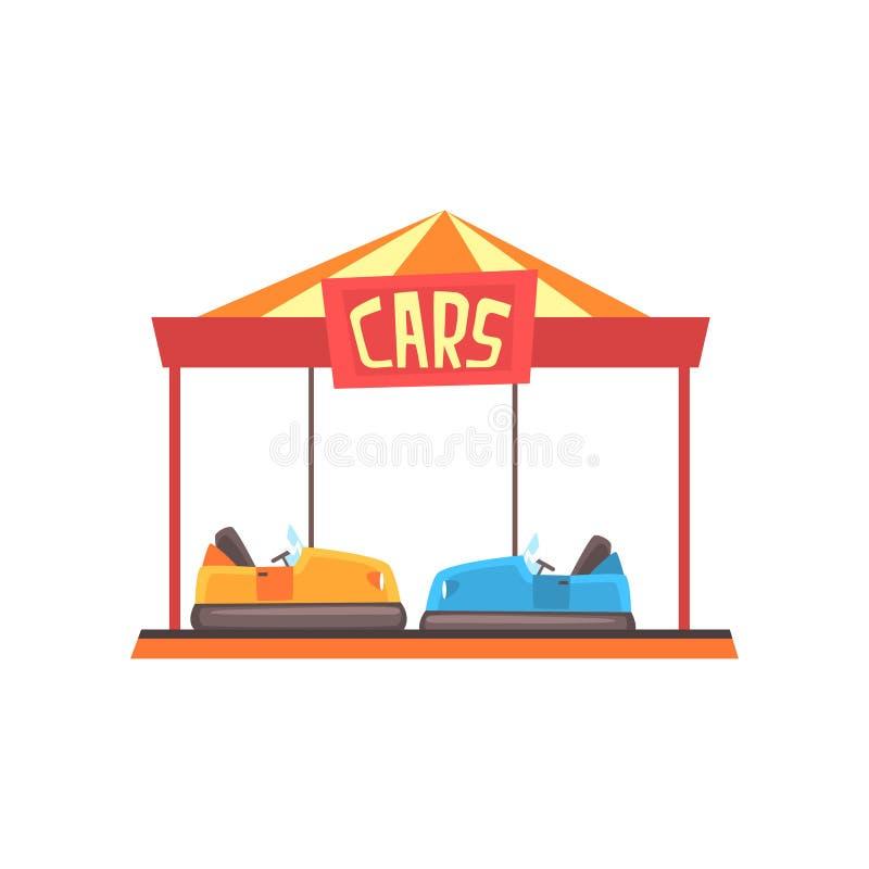 碰撞用汽车吸引力的动画片例证在明亮的大门罩下的 游乐园或狂欢节 五颜六色的平的传染媒介 皇族释放例证