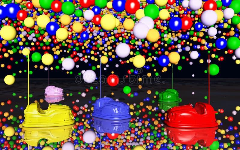 碰撞用汽车和玩具气球 皇族释放例证