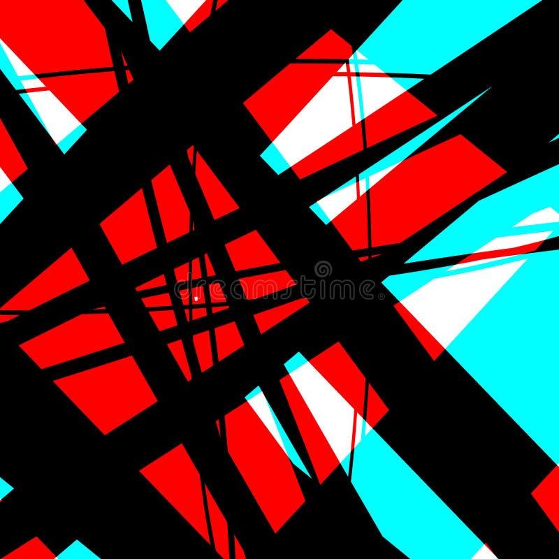 碰撞红色,黑和蓝色 皇族释放例证