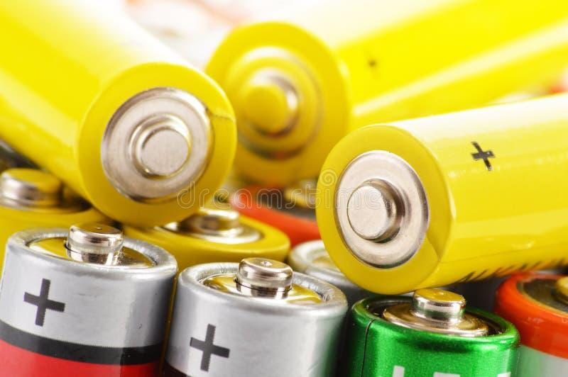 碱性电池。化学制品废物 免版税图库摄影