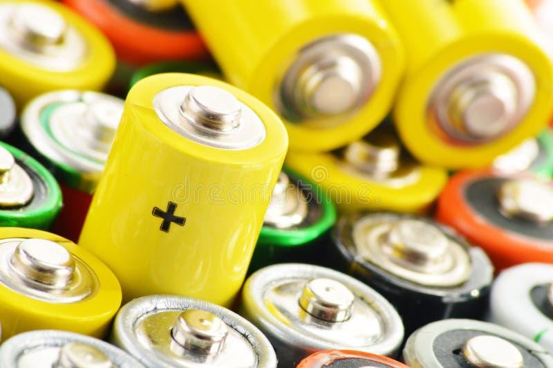 碱性电池。化学制品废物 库存图片