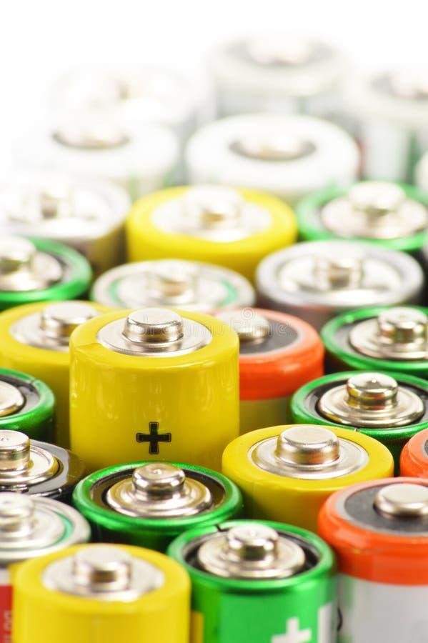 碱性电池。 化学制品浪费 库存照片