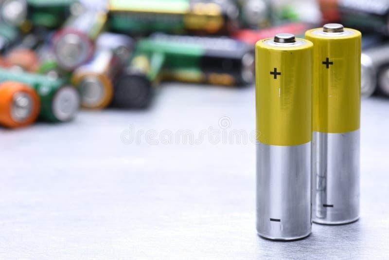 碱性电池特写镜头 免版税库存图片